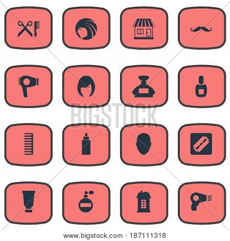 Vector Illustration Set Of Simple Beautician Icons. Elements Premises, Hair, Hackle And Other Synonyms Female, Beautiful And Flask.
