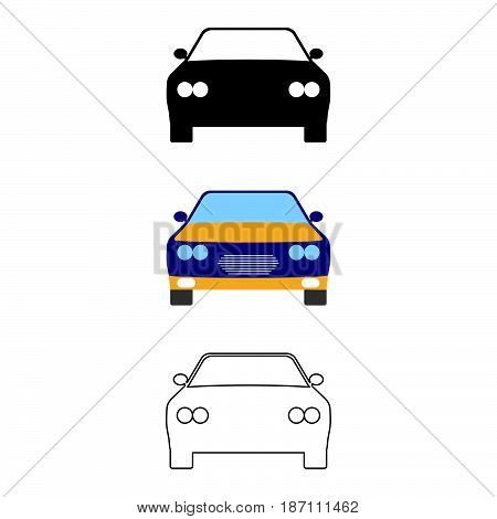 Set Of Flat Car Icon. Cartoon, Outline, Silhouette Vector Illustration