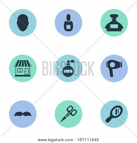 Vector Illustration Set Of Simple Barber Icons. Elements Reflector, Flask, Human And Other Synonyms Vial, Whiskers And Shop.