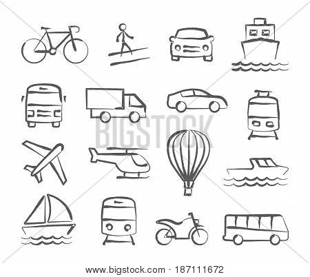 Transport icons in doodle style on white