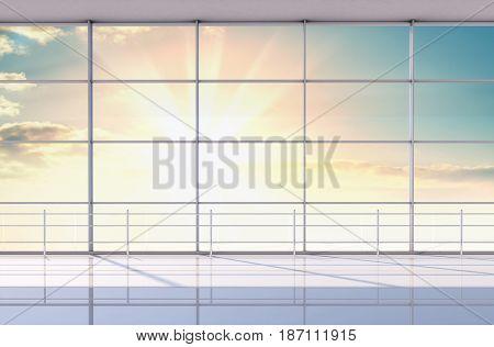 Minimalist interior of the airport. Beautiful sunrise or sunset outside the windows. 3d illustration