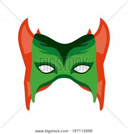 colorful silhouette with festive mask with horns vector illustration