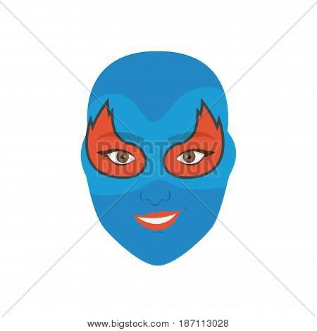 colorful silhouette with woman superhero masked with flame around the eyes and without contour