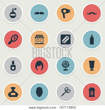 Vector Illustration Set Of Simple Beautician Icons. Elements Supermarket, Cut Tool, Human And Other Synonyms Odor, Drying And Whiskers.