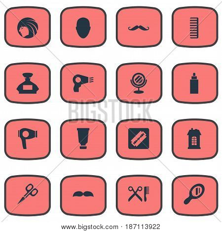 Vector Illustration Set Of Simple Barber Icons. Elements Shaver, Bottle, Reflector And Other Synonyms Construction, Barbershop And Scissors.