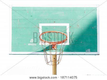 green basketball backboard isolated on white background