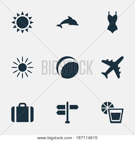 Vector Illustration Set Of Simple Seaside Icons. Elements Mammal Fish, Bikini, Suitcase And Other Synonyms Lemonade, Crossroad And Woman.