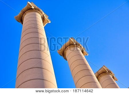Ionic Columns In Barcelona Spain.