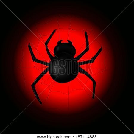 Spider with spider web on the background of the moon. Vector illustration