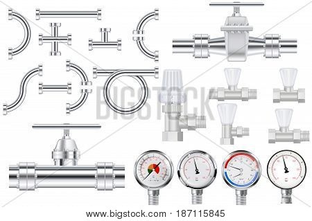 Metal pipes, chrome pipe flange,  Water valve. Manometer.  Vector illustration isolated on white background