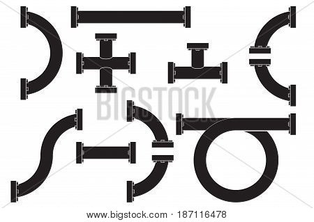 Water pipes with flange. Black icon. Vector illustration isolated on white background