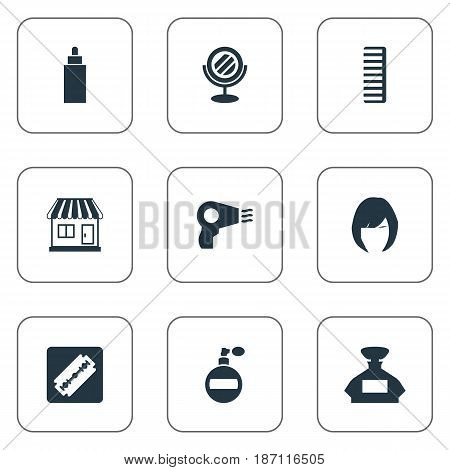 Vector Illustration Set Of Simple Beautician Icons. Elements Peeper, Aroma, Hackle And Other Synonyms Container, Female And Hair.