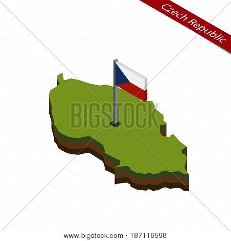 Czech Republic Isometric Map And Flag. Vector Illustration.