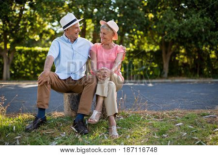 Smiling senior couple sitting on rock by road