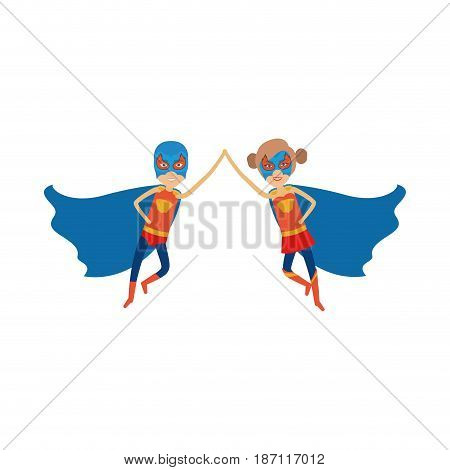 colorful silhouette with duo of superheroes flying united of the hands and her with collected hair and without contour vector illustration