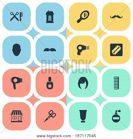 Vector Illustration Set Of Simple Beautician Icons. Elements Reflector, Drying Machine, Shaver And Other Synonyms Mustache, Reflector And Woman.