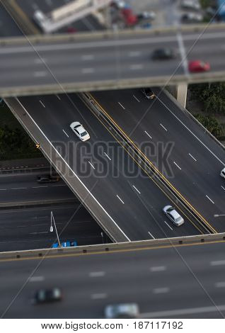 Express way with tilt-shift effect in Bangkok