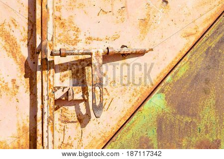 Antique Metal Lock Door In A Old Home