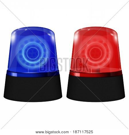 Police blue and red siren. Flashing emergency light. Vector isolated on white background. Illustration.