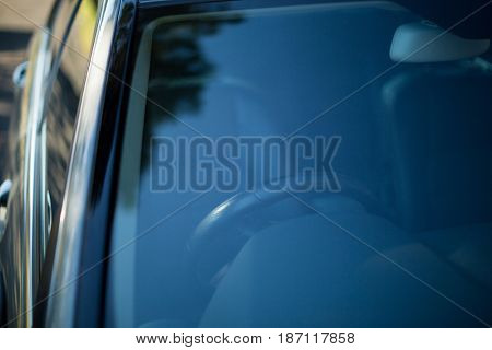 High angle view of black car parked on road