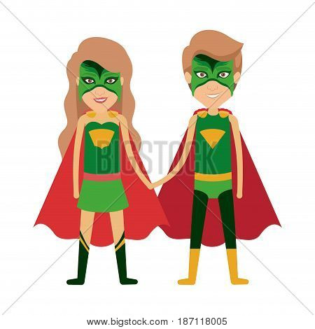 colorful silhouette with duo of superheroes united of the hands and her with long wavy hair and without contour vector illustration