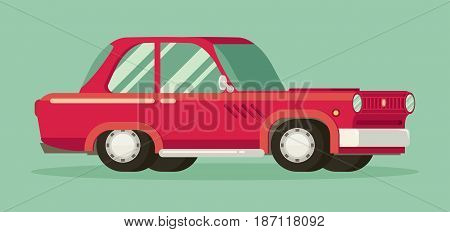 Old car. Flat styled vector illustration on color background