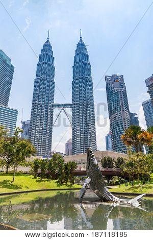 KUALA LUMPUR MALAYSIA - AUGUST 03: Petronas Twin Towers on August 03 2016 in Kuala Lumpur Malaysia.