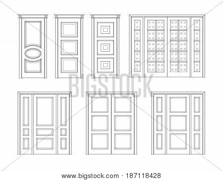 Collection office white doors, Set Technical Drawing. Classic interior doors isolated. vector illustration doors.