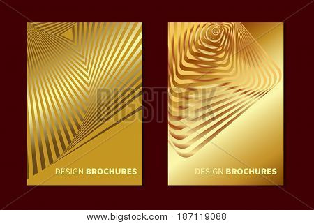 Striped golden opt art. Geometric optical illusion with stripes. Abstract background card. Vector illustration.
