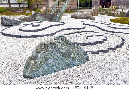 Japanese Rock Garden Or Zen Garden At Enkoji Temple In Kyoto, Japan