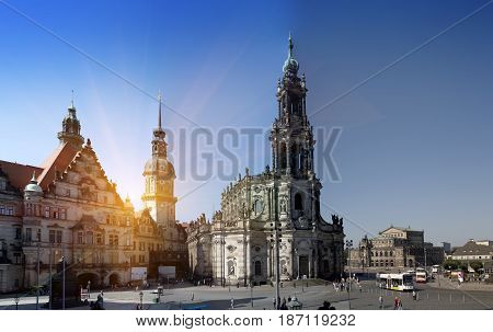 Dresden.Cathedral of the Holy Trinity or Hofkirche and Dresden Castle Saxony Germany. Panorama