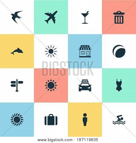 Vector Illustration Set Of Simple Seaside Icons. Elements Bikini, Taxi, Sun And Other Synonyms Beach, Party And Hot.
