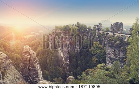 Bastei rocks and Bastei Bridge in Saxon Switzerland National Park Germany retro effect