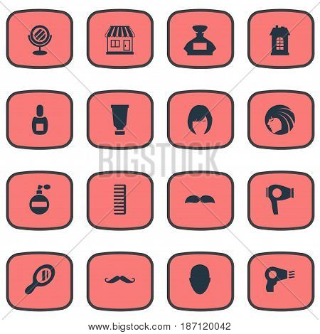 Vector Illustration Set Of Simple Hairdresser Icons. Elements Scent, Premises, Glamour Lady And Other Synonyms Odor, Whiskers And Supermarket.