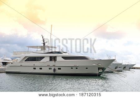 Row of yachts in the port of La Spezia, Italy