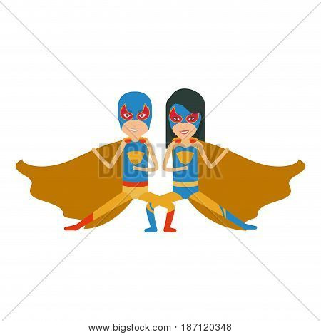 colorful silhouette with duo of superheroes in defensive pose and her with straight long hair and without contour vector illustration