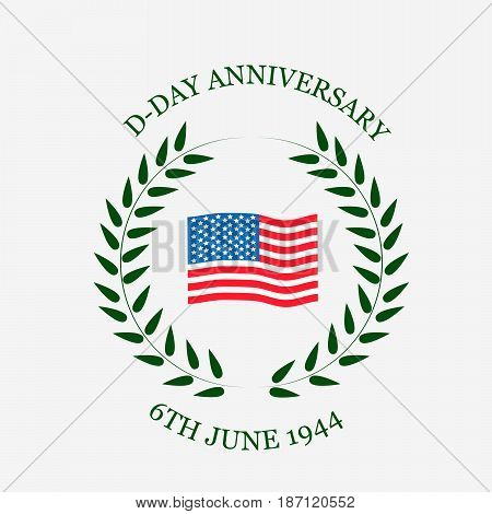 illustration of US flag with D-Day anniversary 6th june 1944 text