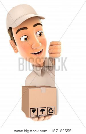3d delivery man behind left wall and holding package illustration with isolated white background