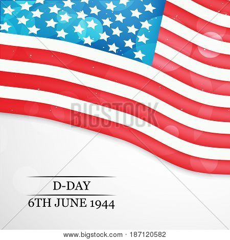 illustration of US flag with D-Day 6th june 1944l text