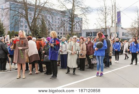 Kirishi, Russia - 9 May, People waiting for the start of the action, 9 May, 2017. Preparation and conduct of the action Immortal regiment in small cities of Russia.