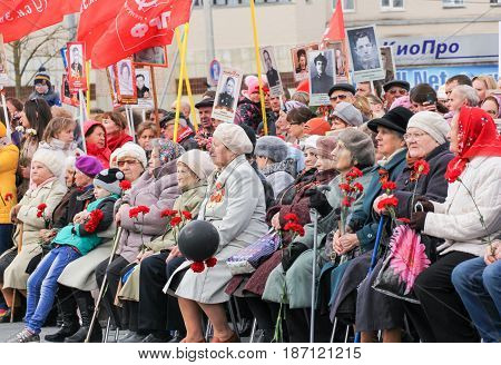 Kirishi, Russia - 9 May, Sitting at the meeting are elderly people, 9 May, 2017. Holding a festive rally dedicated to the Victory Day.