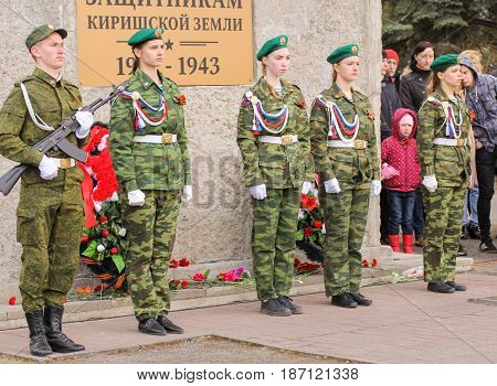 Kirishi, Russia - 9 May, Honor guard at the monument, 9 May, 2017. Holding a festive rally dedicated to the Victory Day.