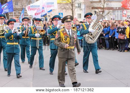 Kirishi, Russia - 9 May, The brass band on the march, 9 May, 2017. Preparation and conduct of the action Immortal regiment in small cities of Russia.