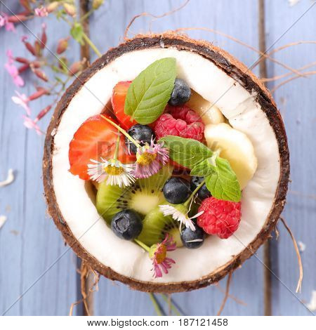 fruit salad in coco