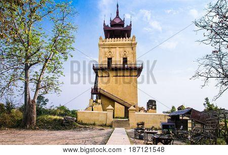 Nanmyint watch tower or Ava incline tower in Inwa (Ava), Myanmar (Burma)