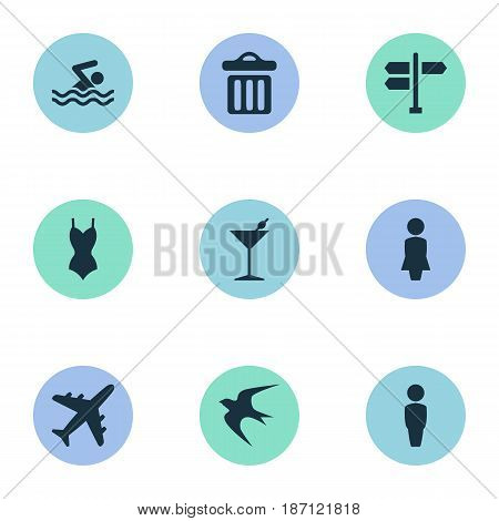 Vector Illustration Set Of Simple Seaside Icons. Elements Swimming Man, Airplane, Bikini And Other Synonyms Garbage, Dustbin And Swallow.