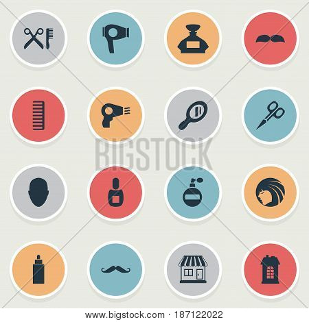 Vector Illustration Set Of Simple Hairdresser Icons. Elements Container, Cut Tool, Blow Dryer And Other Synonyms Tool, Scissors And Head.