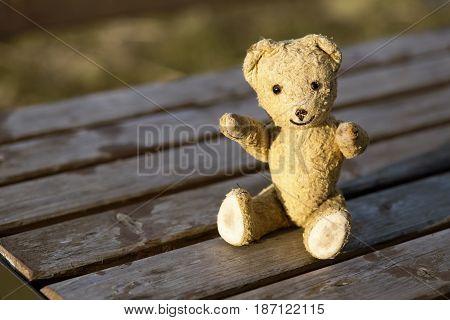 Smiling retro toy bear sitting on the wood