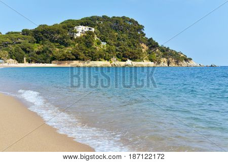 a view of Fenals beach in Lloret de Mar in the Costa Brava, Catalonia, Spain