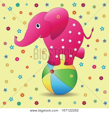 Pink elephant on a ball. Vector image on a yellow background. Picture for the child. Characters of cartoons. Design for illustration of children's book, textiles, background image.